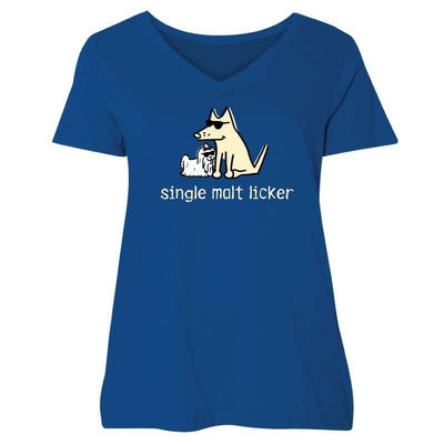 Single Malt Licker  - Ladies Curvy V-Neck Tee