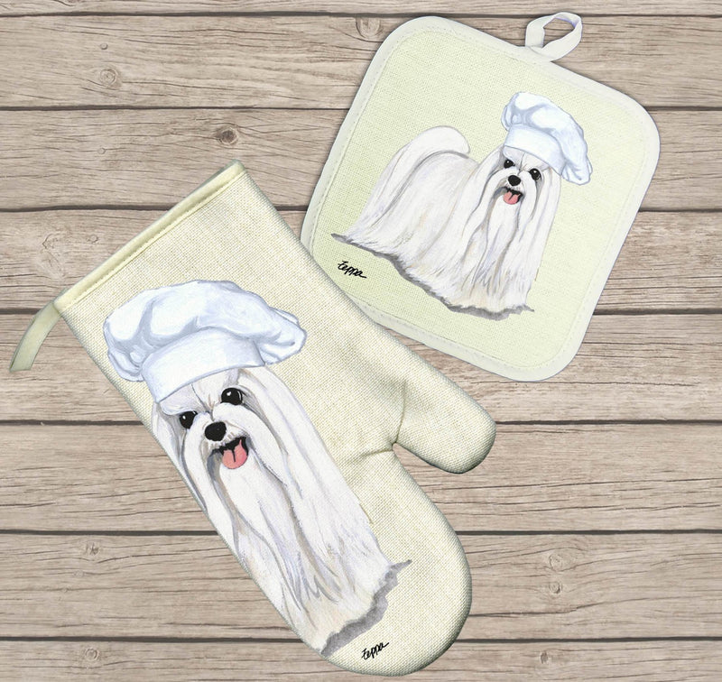 Maltese Oven Mitt and Pot Holder