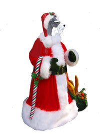 Miniature Schnauzer Natural Ears Santa Statue