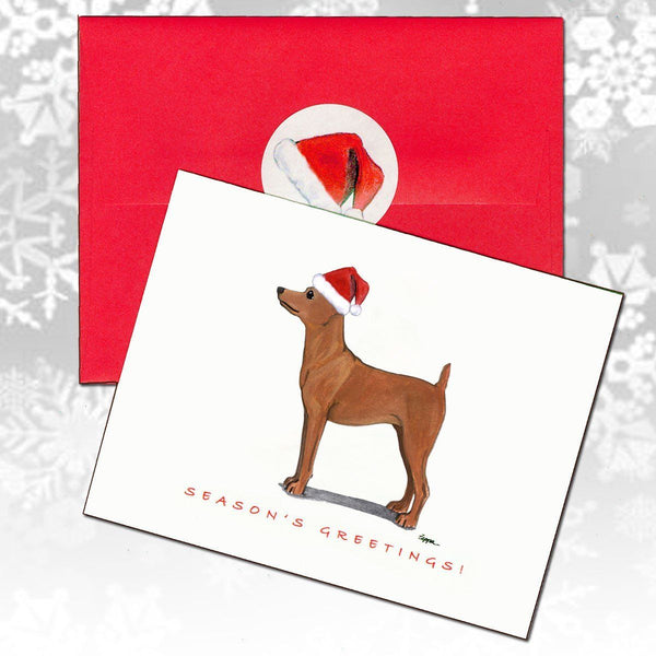 Miniature Pinscher Red Christmas Note Cards