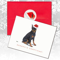Miniature Pinscher,  Black and Tan Christmas Note Cards