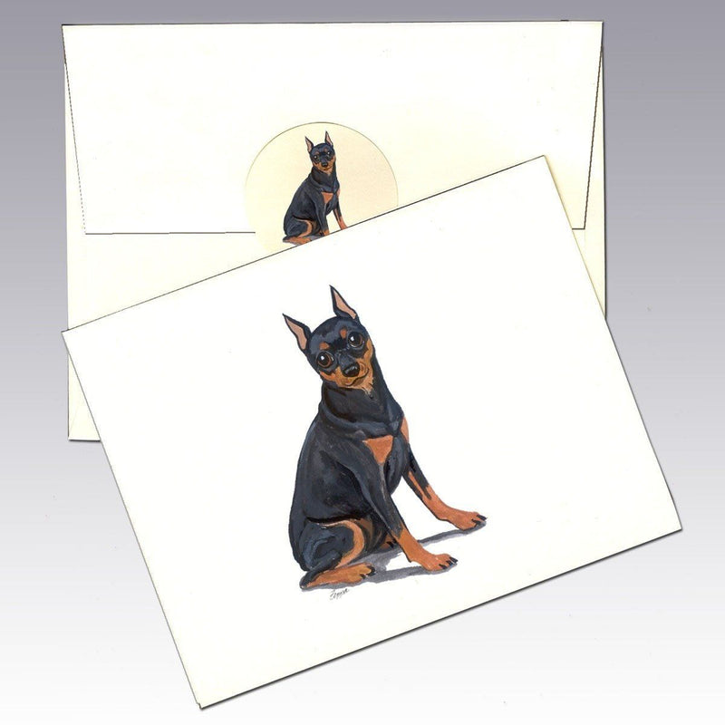 Miniature Pinscher,  Black and Tan Note Cards