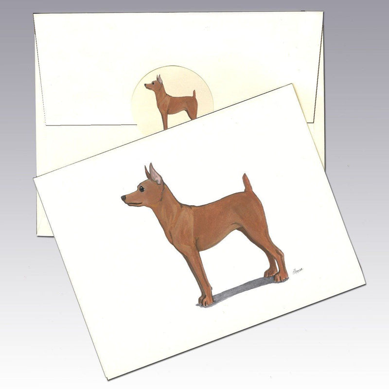 Miniature Pinscher Red Note Cards