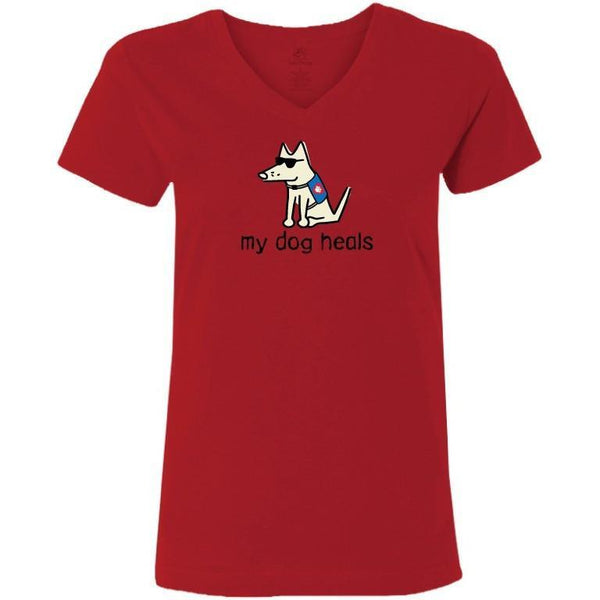 my dog heals ladies v neck t-shirt