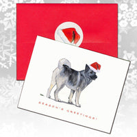 Norwegian Elkhound Christmas Note Cards
