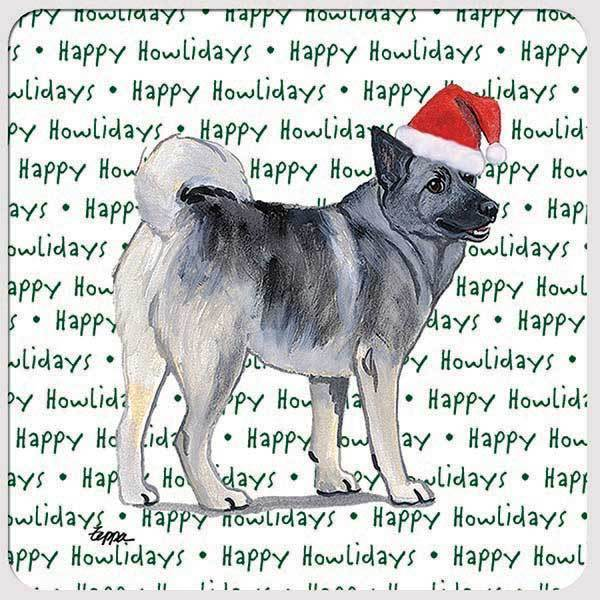 "Norwegian Elkhound ""Happy Howlidays"" Coaster"