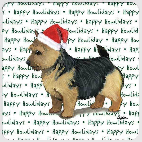 "Norwich Terrier, Black Saddle ""Happy Howlidays"" Coaster"