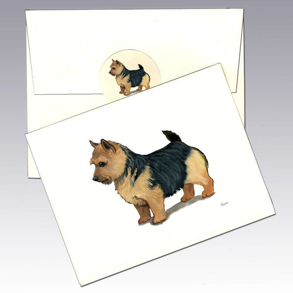 Norwich Terrier, Black Saddle Note Cards