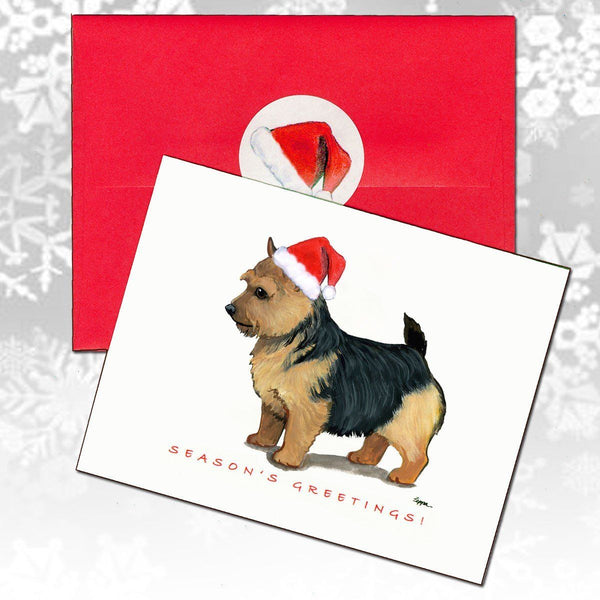 Norwich Terrier, Black Saddle Christmas Note Cards