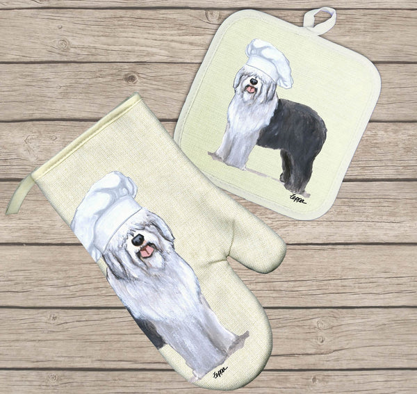 Old English Sheepdog Oven Mitt and Pot Holder