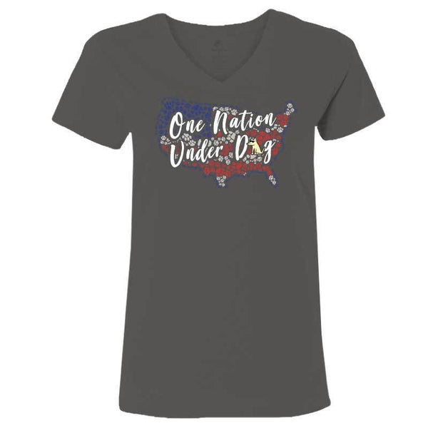 One Nation Under Dog  - Ladies T-Shirt V-Neck