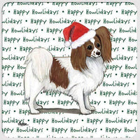 "Papillon, Red and White ""Happy Howlidays"" Coaster"