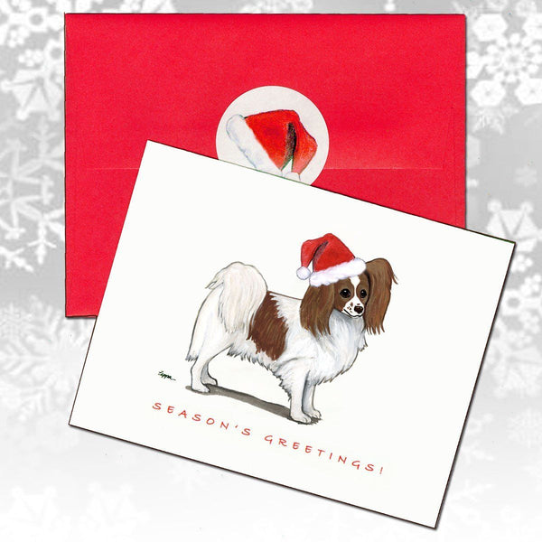 Papillon, Red and White Christmas Note Cards