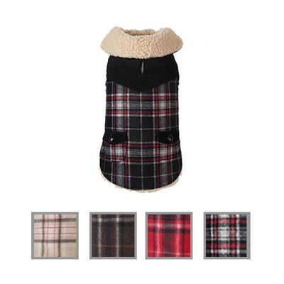 Wool Plaid Shearling Dog Coat