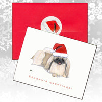 Pekingese Christmas Note Cards