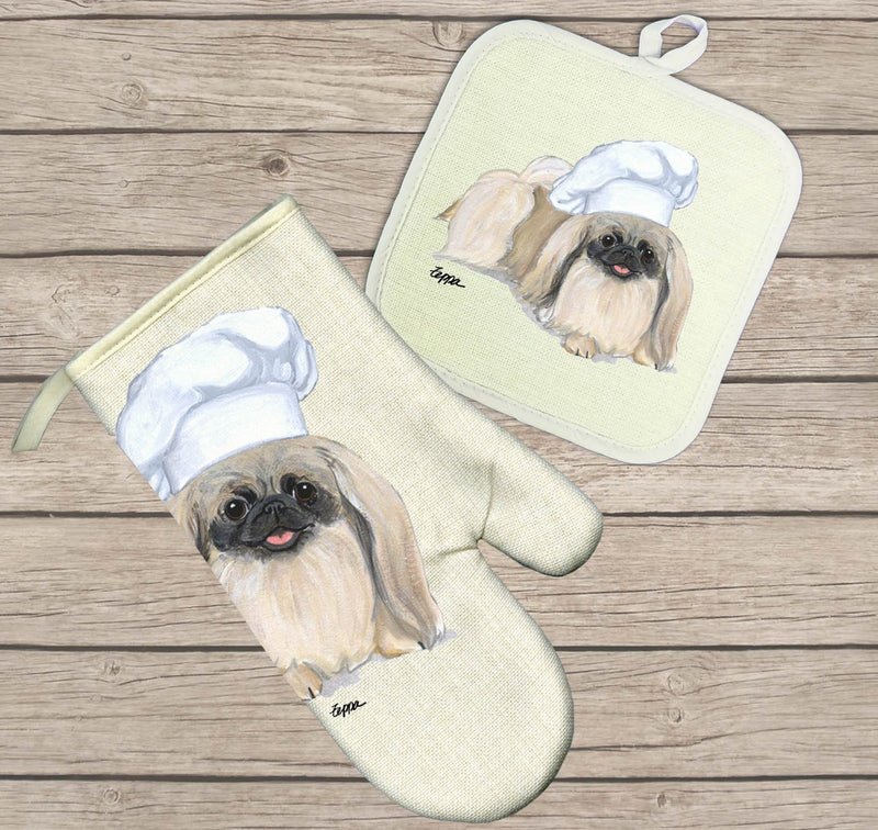 Pekingese Oven Mitt and Pot Holder