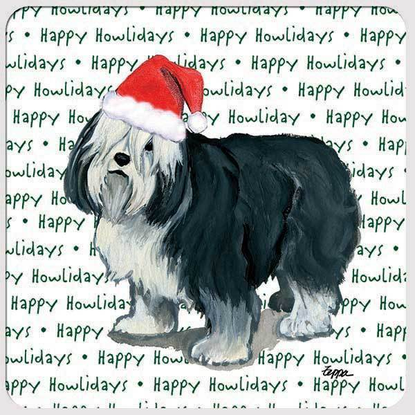 "Polish Lowland Sheepdog ""Happy Howlidays"" Coaster"