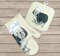 Polish Lowland Sheepdog Oven Mitt and Pot Holder