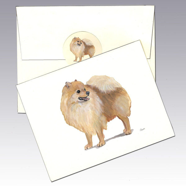 Pomeranian, Red Note Cards