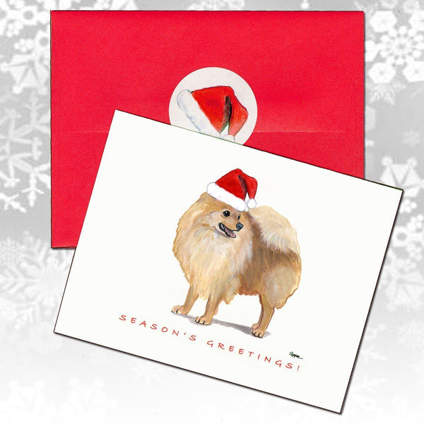 Pomeranian, Red Christmas Note Cards
