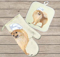 Pomeranian Oven Mitt and Pot Holder
