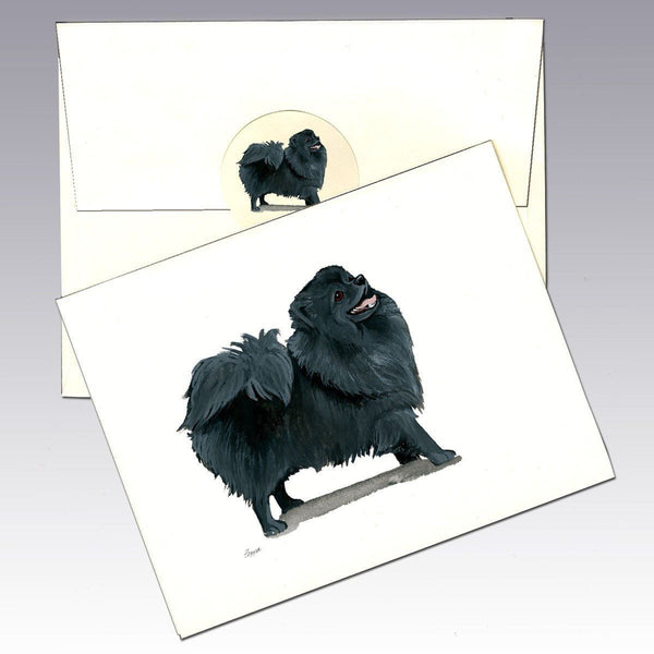 Pomeranian, Black Note Cards