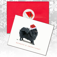 Pomeranian, Black Christmas Note Cards