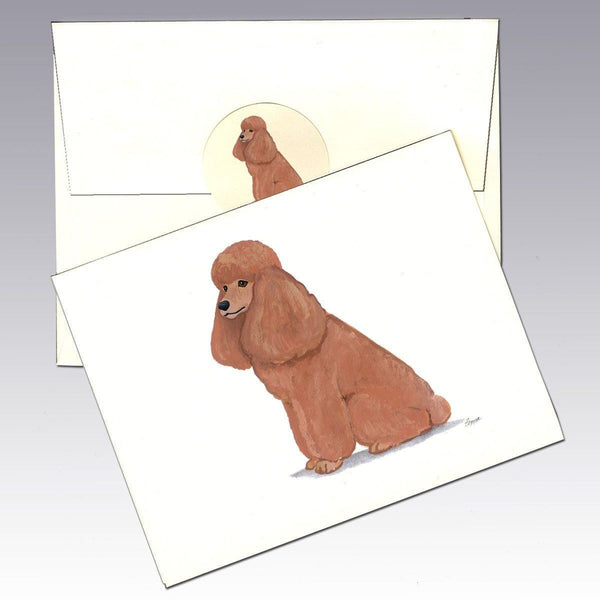 Poodle Apricot Note Cards