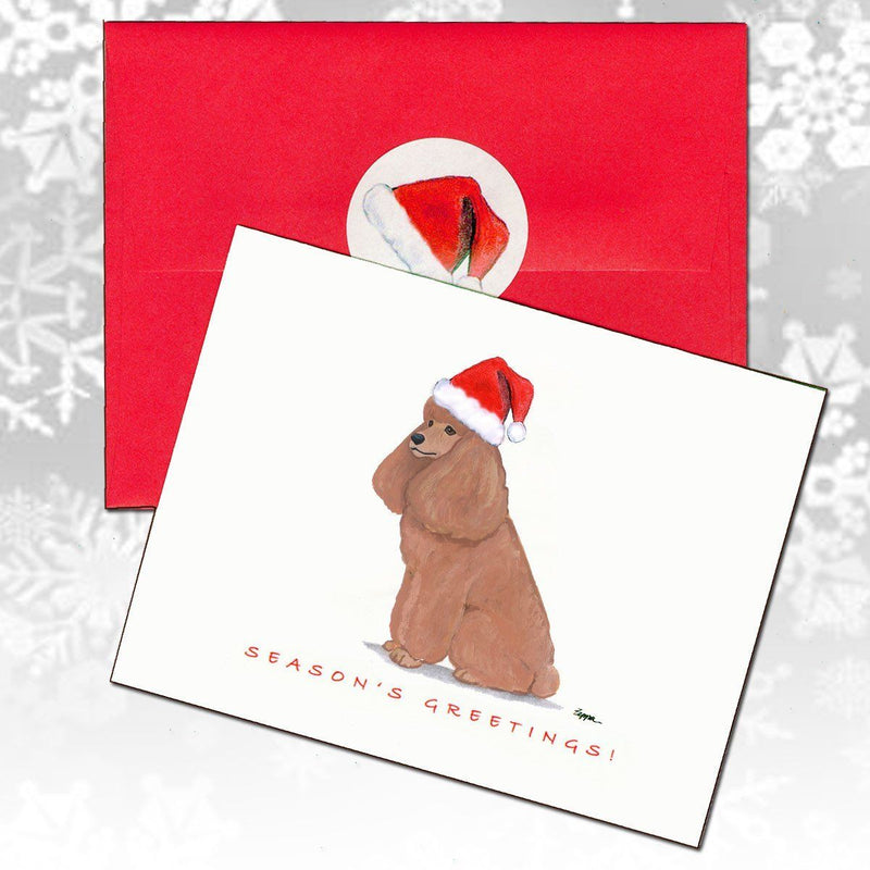Poodle Apricot Christmas Note Cards