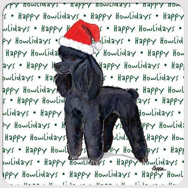 "Poodle Black ""Happy Howlidays"" Coaster"