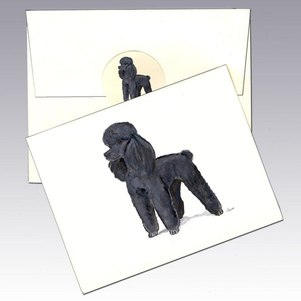 Poodle Black Note Cards