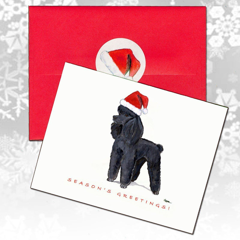Poodle Black Christmas Note Cards