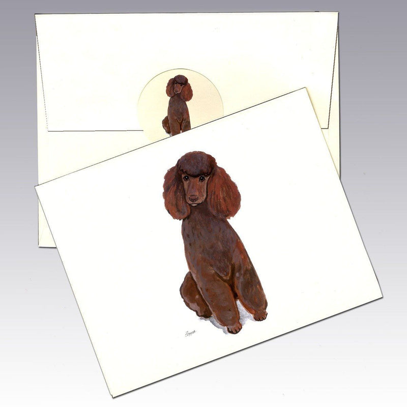 Poodle Brown Note Cards