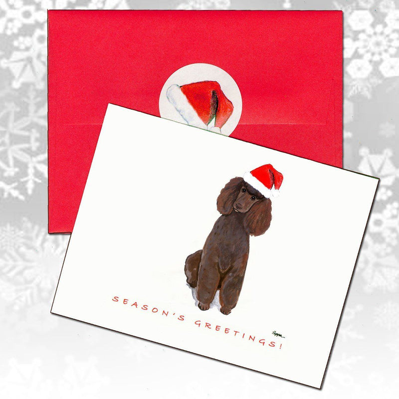 Poodle Brown Christmas Note Cards
