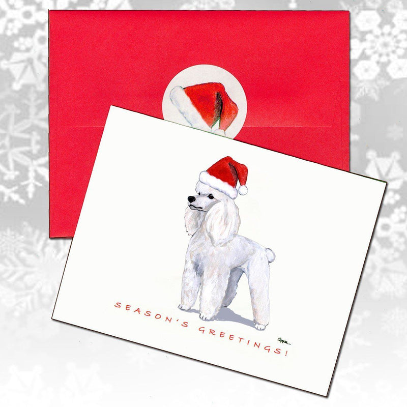 Poodle White Christmas Note Cards