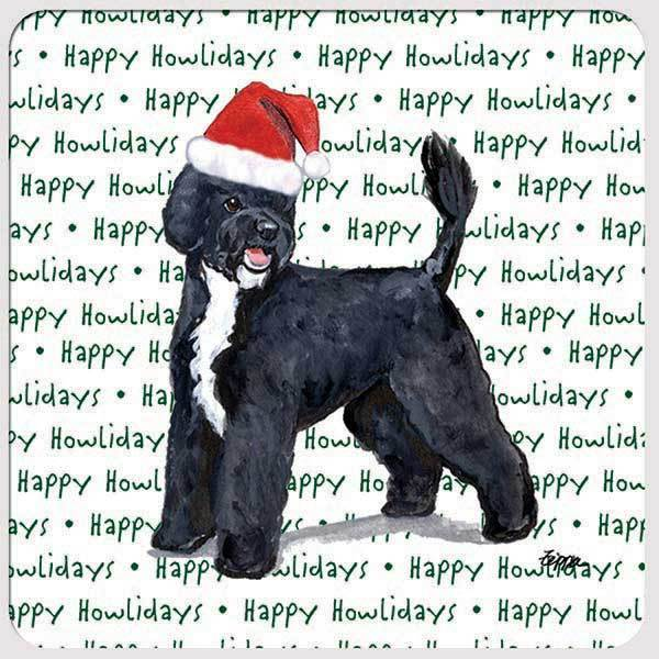 "Portuguese Water Dog ""Happy Howlidays"" Coaster"