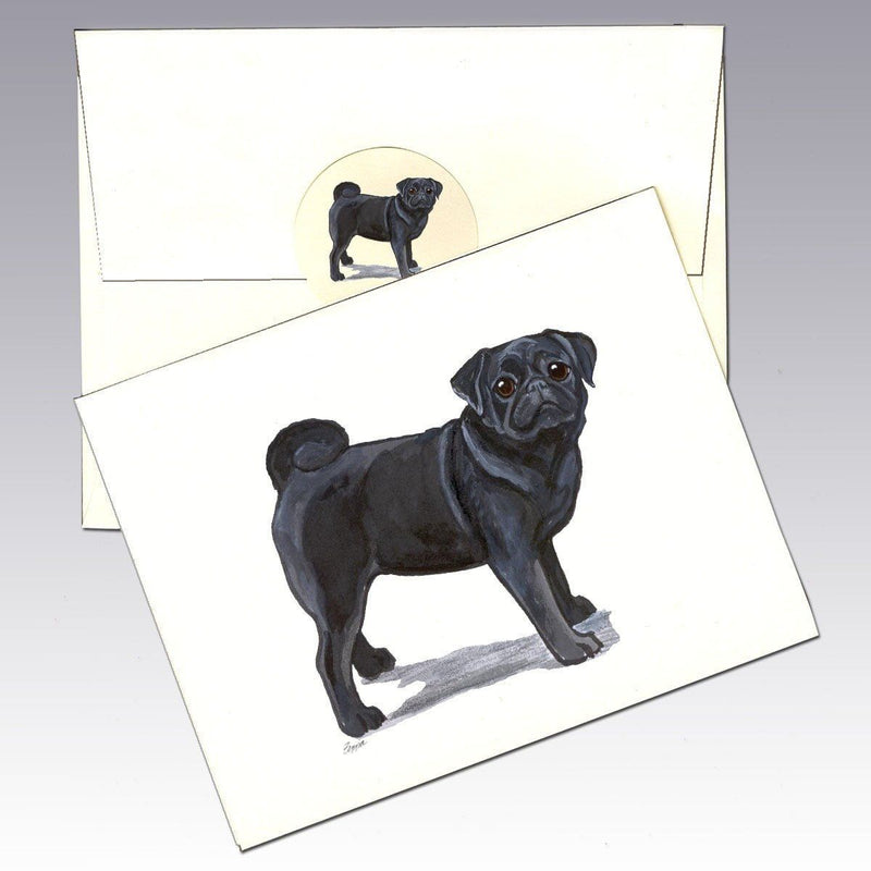 Pug, Black Note Cards