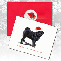Pug, Black Christmas Note Cards