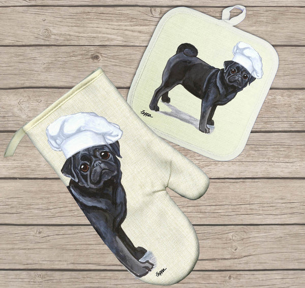 Pug Oven Mitt and Pot Holder