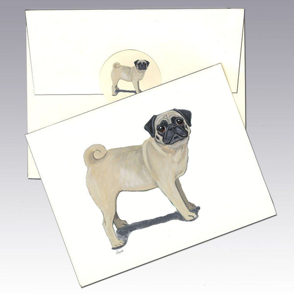 Pug, Fawn Note Cards