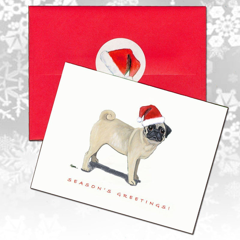 Pug, Fawn Christmas Note Cards