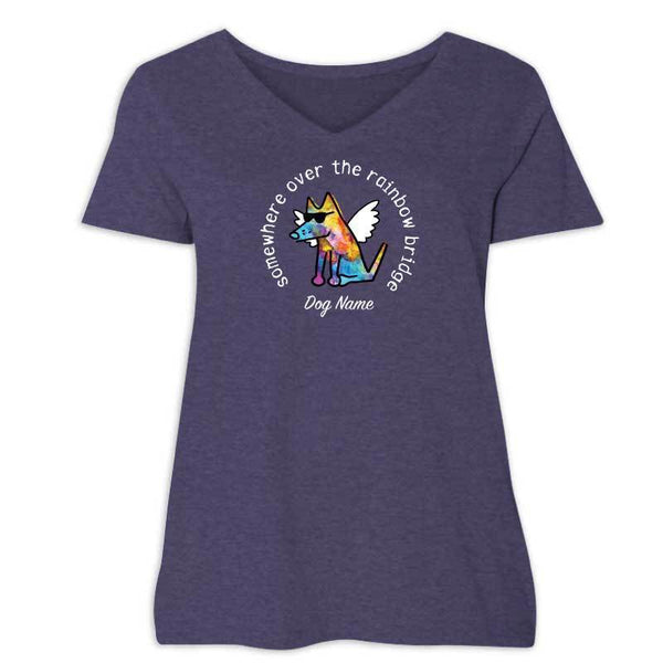 Somewhere Over The Rainbow Bridge - Ladies Curvy V-Neck Tee