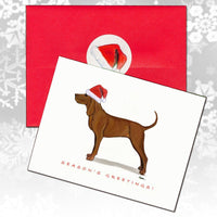 Redbone Coonhound Christmas Note Cards