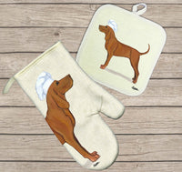 Redbone Coonhound Oven Mitt and Pot Holder