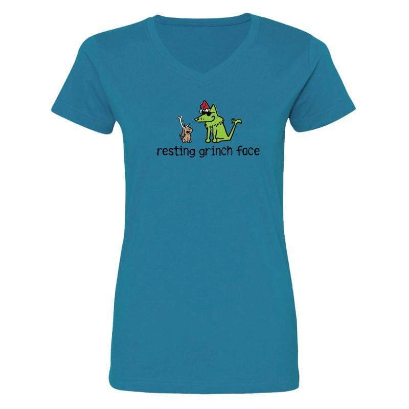 Resting Grinch Face - Ladies T-Shirt V-Neck