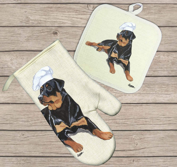 Rottweiler Oven Mitt and Pot Holder