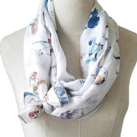 """Meow"" 100% Silk Cat Scarf"