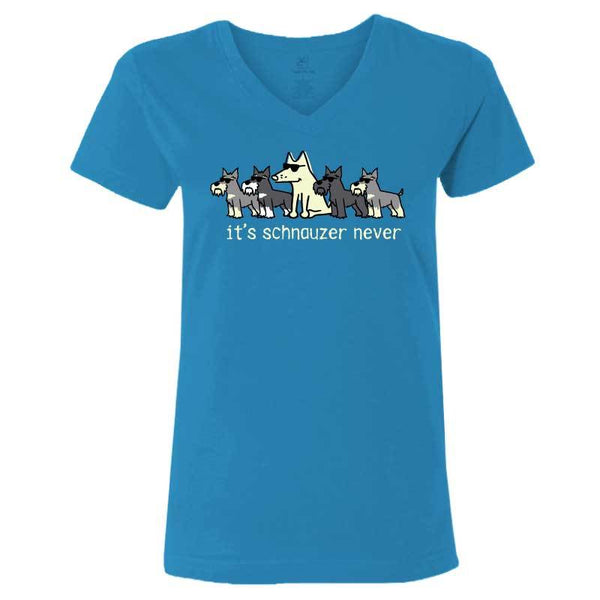 It's Schnauzer Never- Ladies T-Shirt V-Neck
