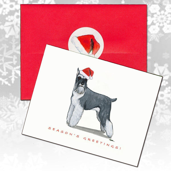 Schnauzer, Standing Christmas Note Cards