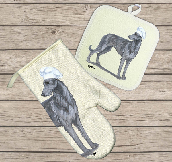 Scottish Deerhound Oven Mitt and Pot Holder